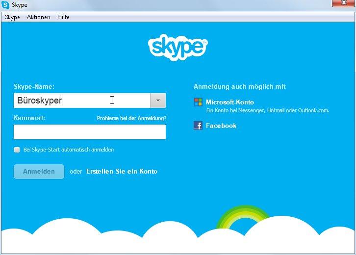 Anmelden beim Skype-Konto
