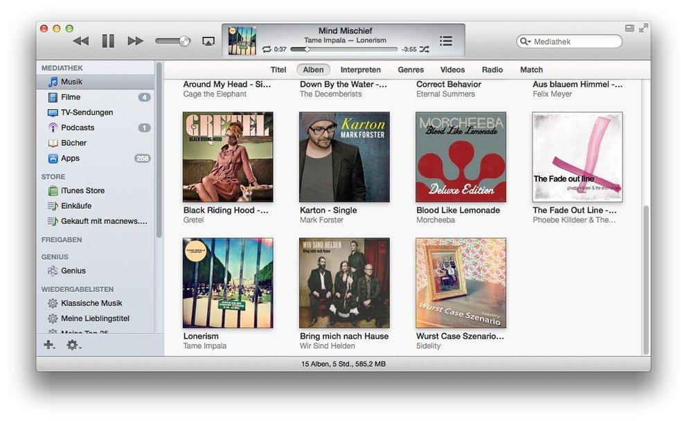 iTunes 11 mit Seitenleiste