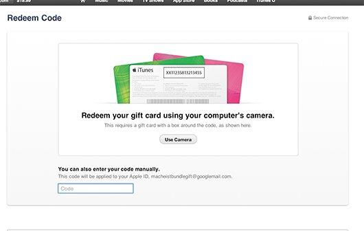 iTunes: Variable Gutscheinkarten und Code-Erkennung mit Kamera