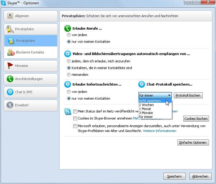 Skype Privatsphäre-Einstellungen