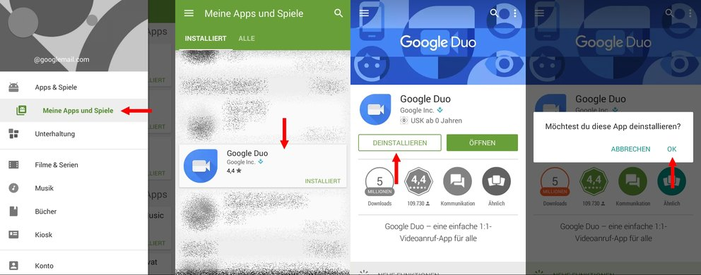 Android Apps deinstallieren Play Store