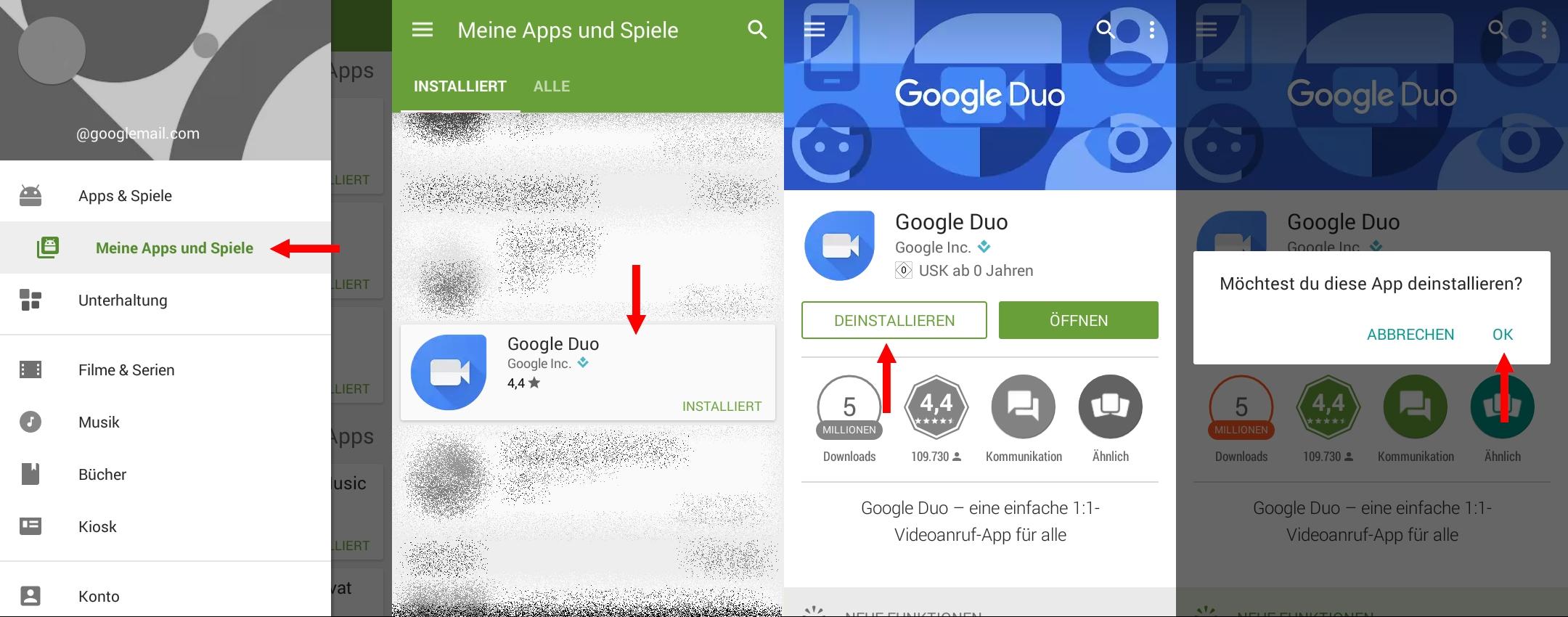 1. Apps entfernen über das Menü