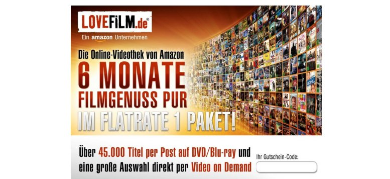 "LOVEFiLM - 6 Monate ""Flatrate 1"" für 18,99 Euro bei Amazon"