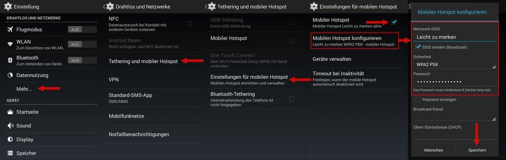 WLAN Hotspot einrichten Android