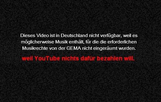 GEMA erklärt YouTube-Verhandlungen für gescheitert - Abmahnung gegen Sperr-Bildschirm