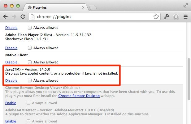 Java in Chrome deinstallieren