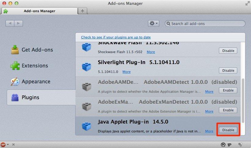 Java in Firefox deaktivieren