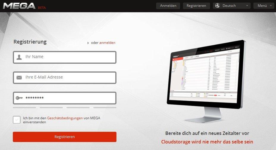 MEGA - Registrierung