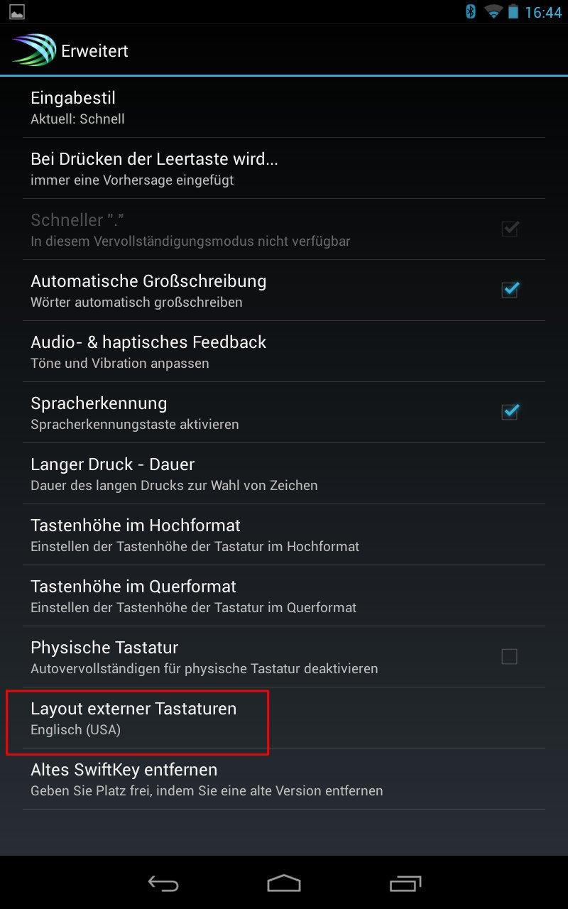 Korrektes Layout für Android-Bluetooth-Tastaturen 09