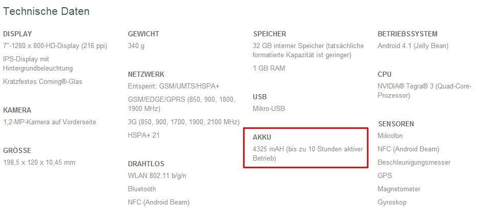 Nexus 7 Produktbeschreibung