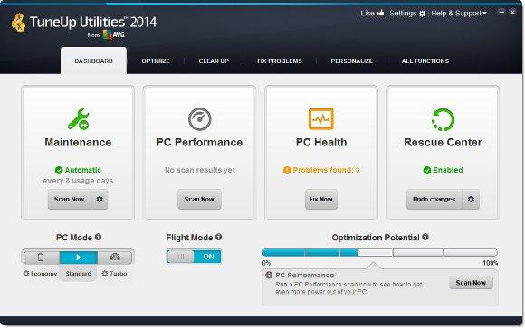 TuneUp Utilities 2014 Startoberfläche