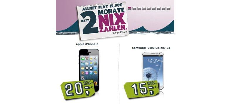 iPhone 5 und Galaxy S3 mit Allnet-Flat bei Yourfone