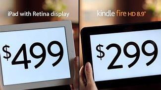Amazon-Werbung: Direkter Vergleich Kindle Fire HD und iPad