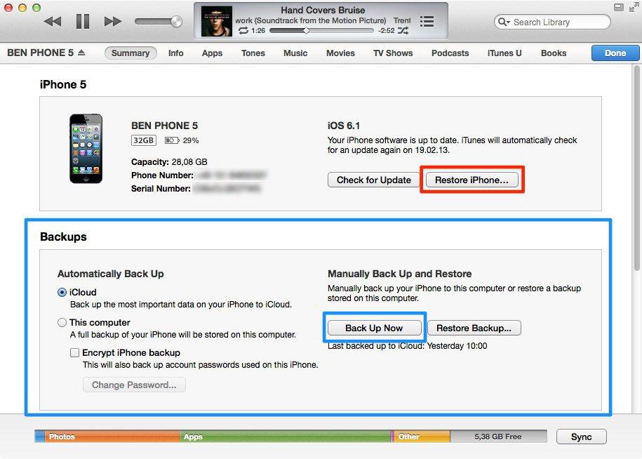 iTunes - Backup & Wiederherstellung