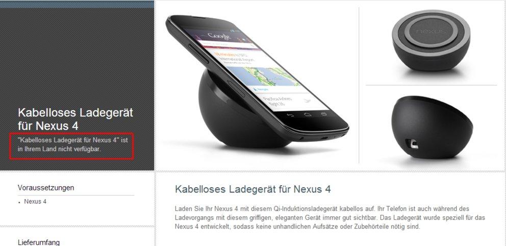 Nexus 4 kabellose Ladestation