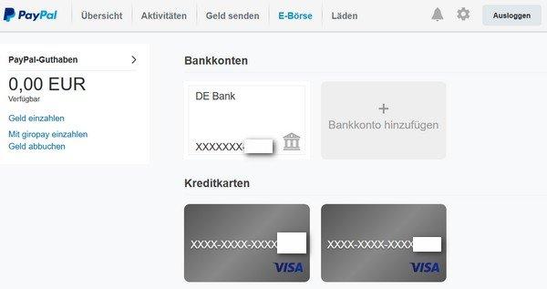 Paypal Konto ändern - Bankverbindung