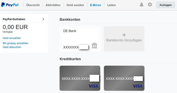 Bankverbindung Paypal