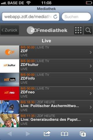 ZDF-Live-Stream auf dem iPhone