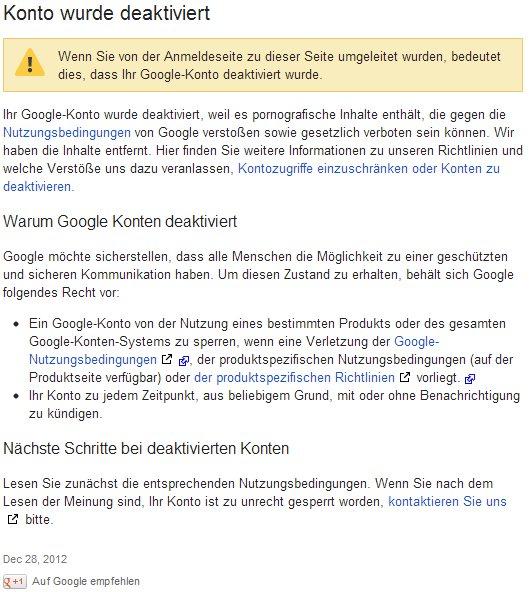 Google Fehlermeldung