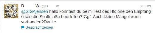 HTC One Twitter-Anfrage