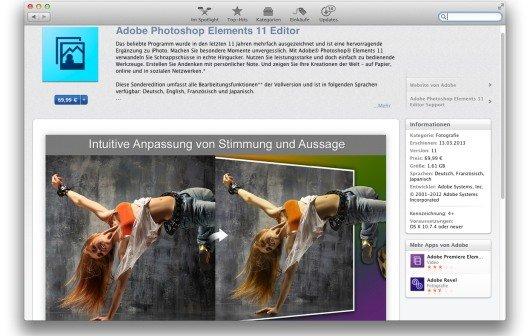 Adobe Photoshop Elements 11 neu im Mac App Store