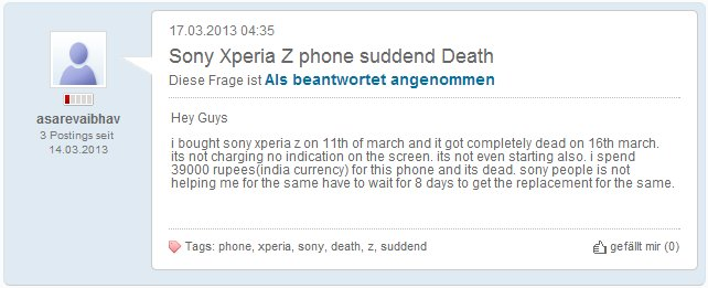 Xperia Z Sudden Death