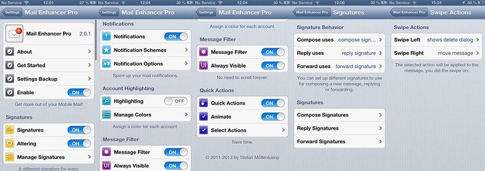 Mail Enhancer Pro für iOS 6 - Einstellungsmöglichkeiten