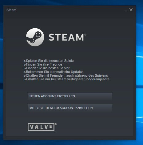 Hier loggt ihr euch mit eurem Steam-Konto ein, oder erstellt einen neuen Account. Bild: GIGA