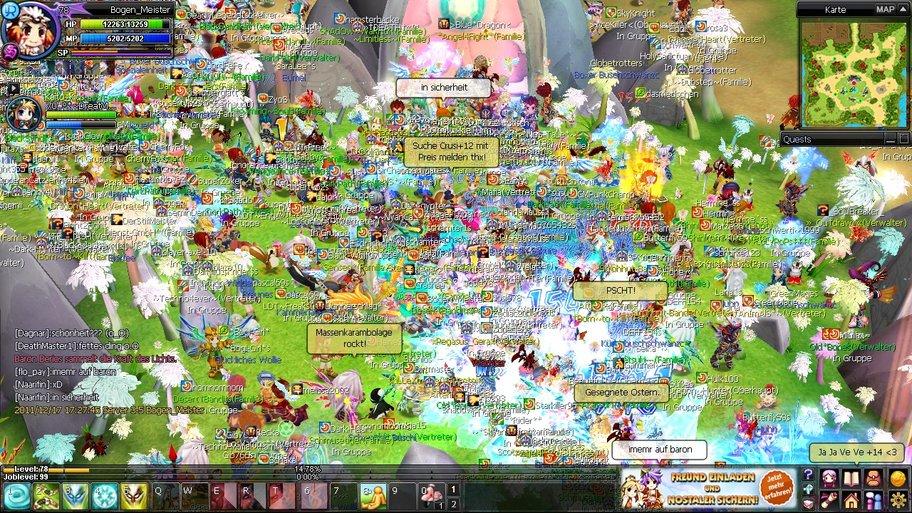 NosTale: Eine solche Massenkaramboulage bringt schon einmal den Server zum Schwanken (Bild von Bogen_Meister)