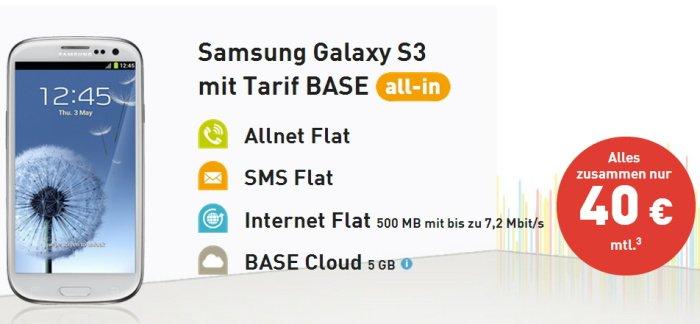 Samsung Galaxy S3 mit BASE all-in für 40 Euro monatlich