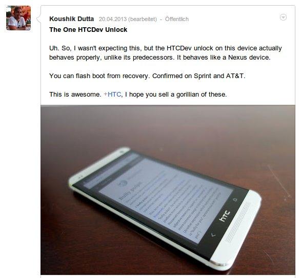 Koushik Dutta zum HTC One