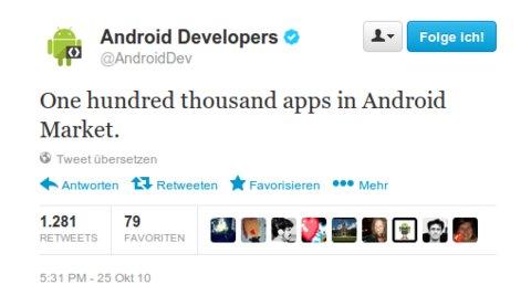 Android Market erreicht 100.000 Apps