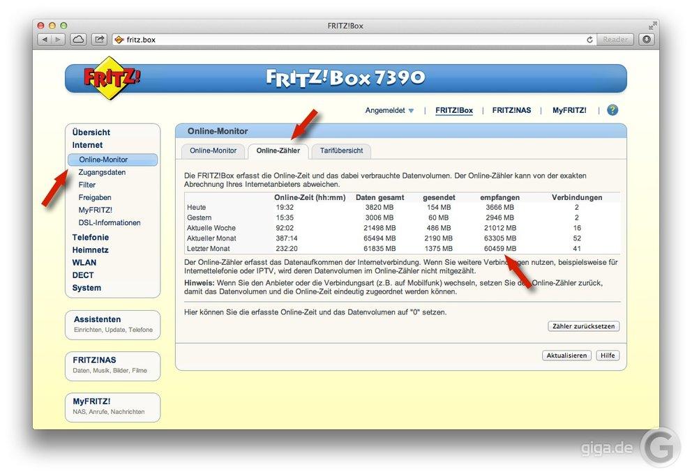 Datenverbrauch-FritzBox-Router