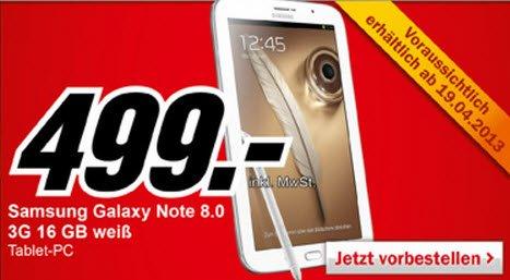 Samsung Galaxy Note 8.0 mit 3G in Kürze bei Media Markt