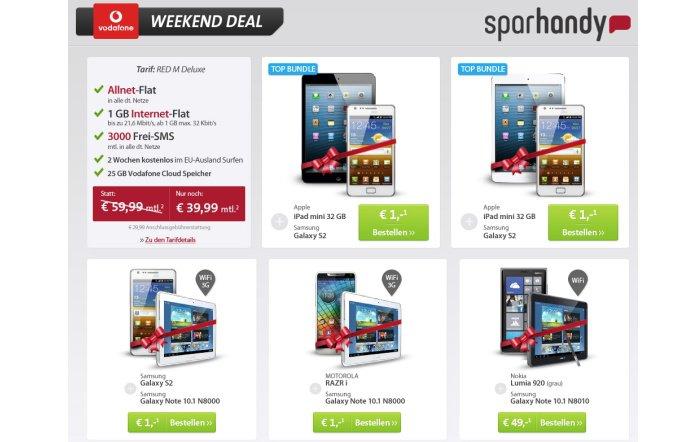 Bundles aus Smartphone und Tablet ab 1 Euro mit Vertrag bei Sparhandy