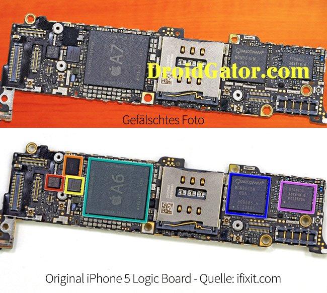 Oben das gefälschte Foto - unten das originale iPhone 5 Logic Board
