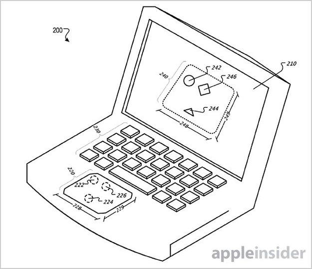 """Apple-Patent zeigt MacBook mit """"virtuellem Trackpad"""" auf dem Display"""