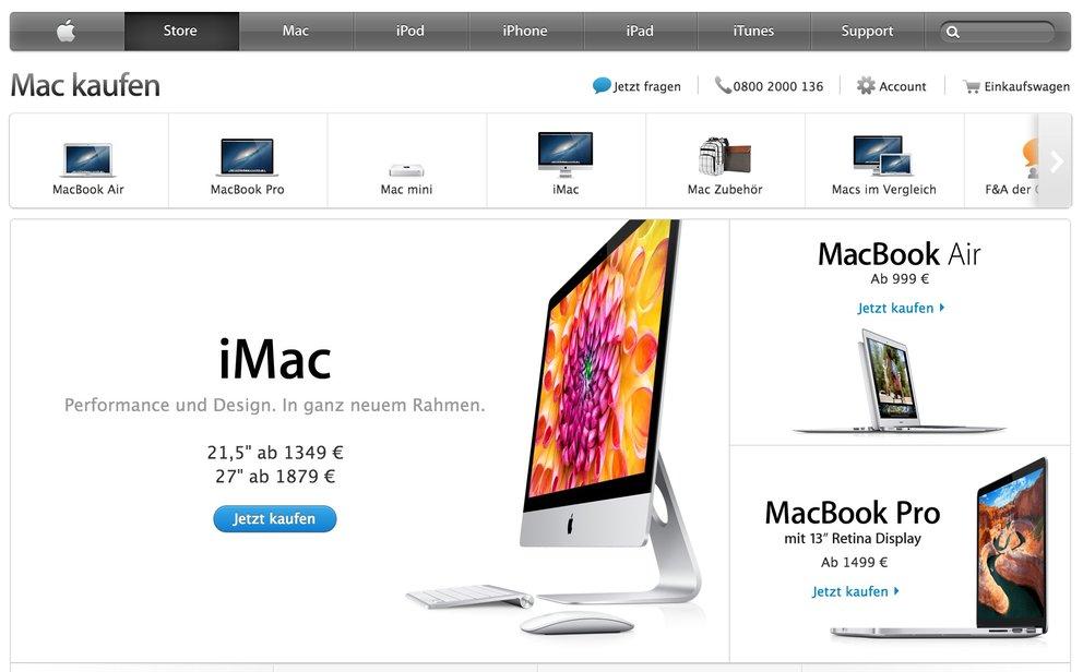 Apple Store: Apple verbessert Website für Touchscreen-Geräte