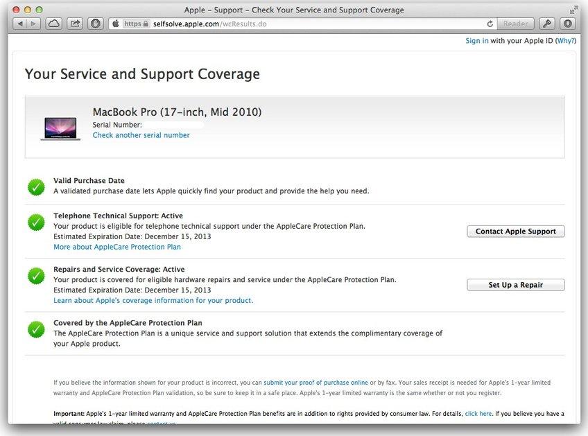 Apple Service Übersicht