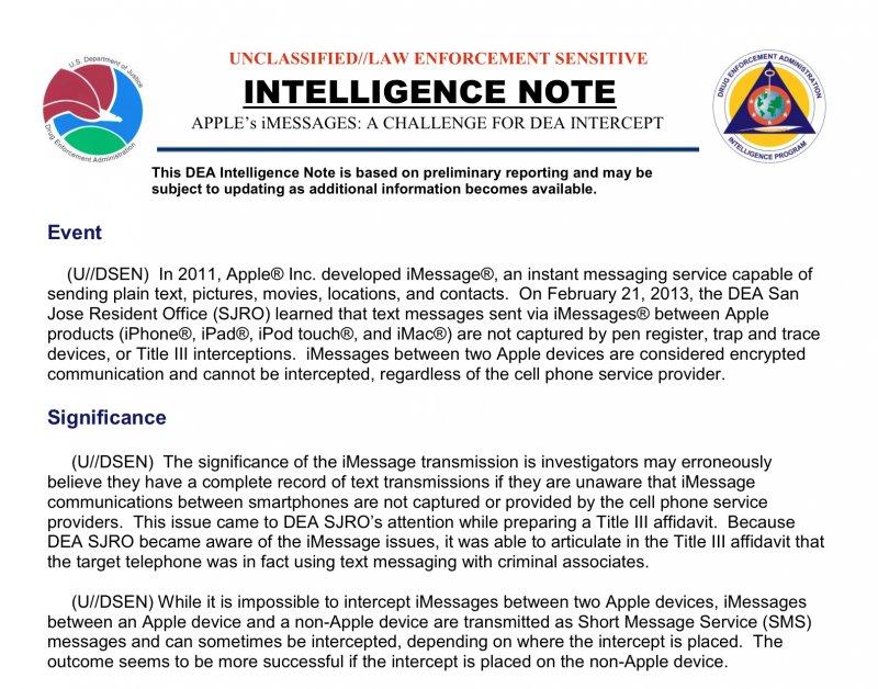 DEA Dokument zum Thema iMessage