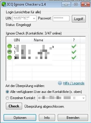 Mit dem ICQ Checker für den Ignore Status erfährt man, ob man von anderen Nutzern ignoriert wird