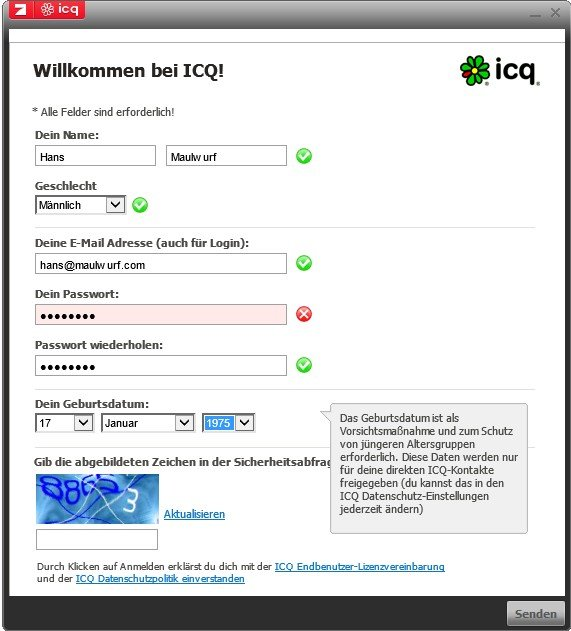 Mit der Eingabe der persönlichen Daten kann man sich erfolgreich bei ICQ registrieren