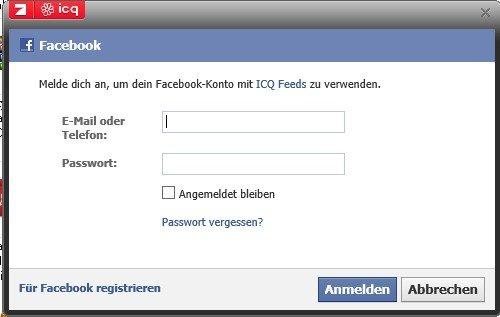 Man kann sich auch mit seinen Facebook-Daten bei ICQ anmelden