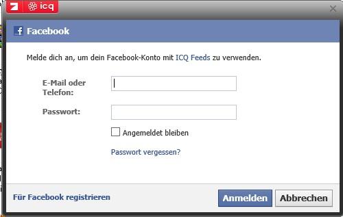 Einloggen bei facebook nicht möglich