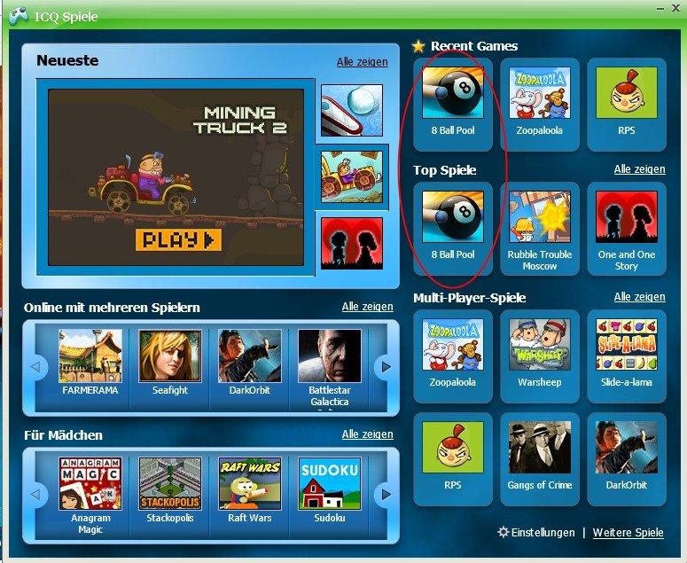 ICQ Pool Spiele