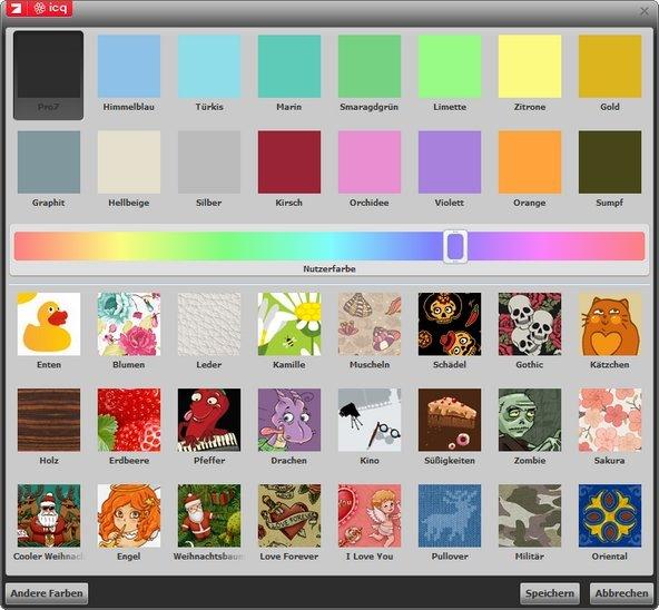 24 eigene ICQ Skins und eine unendliche Farbauswahl sind bereits eingebaut