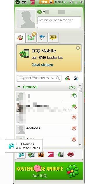 Mit Klick auf das Controller-Icon öffnen man das ICQ-Spielemenü