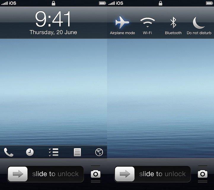 iOS 7 Konzept - Lockscreen