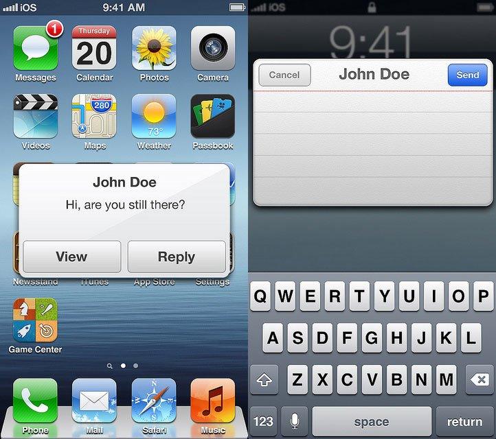 iOS 7 Konzept - schnell antworten