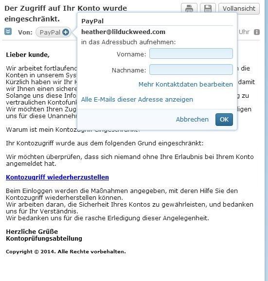 paypal-konto-eingeschraenkt-zugriff-absender